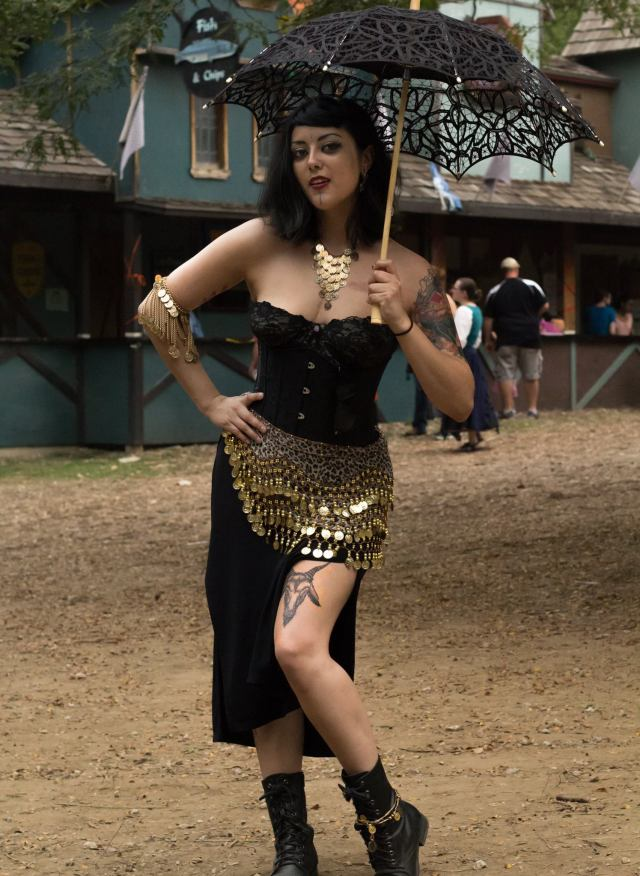 Melody Lane with umbrella at Renn Faire