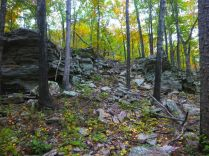 Collapsed boulder field above Cedar Creek on OHT