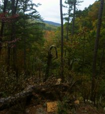 Over ledge into horizon above cedar creek on OHT