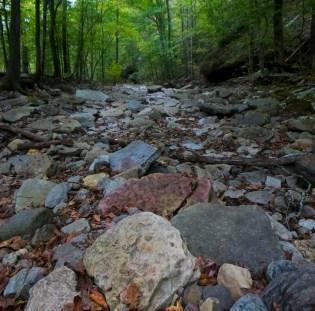 rocky bottom of dried creek on OHT