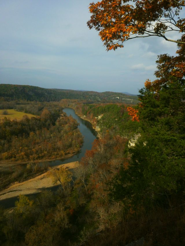 Buffalo River overlook with golden leaves