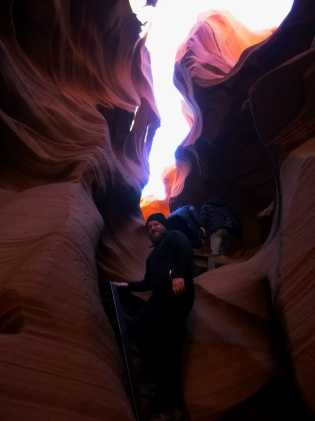 Daniel climbs the Lower Antelope Canyon
