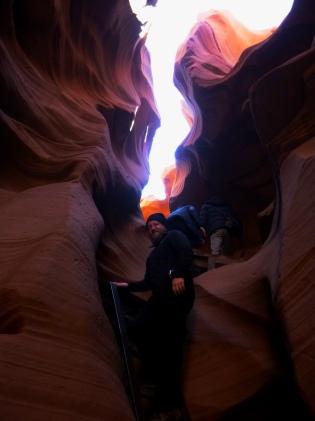 Daniel climbs the Lower Antelope Canyon