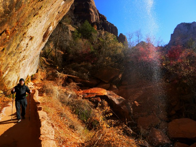Daniel hiking below Emerald Pool Falls at Zion.jpg