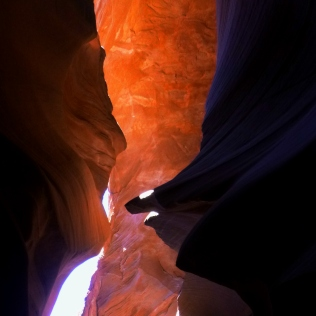 Facing the Lower Antelope Canyon