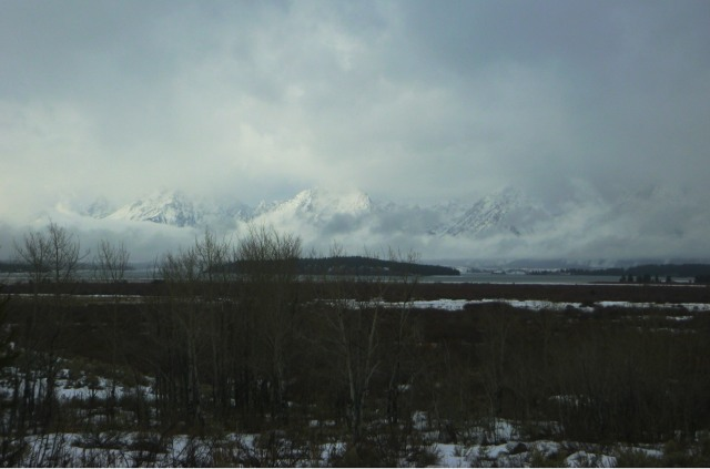 Grand Tetons in cloud cover