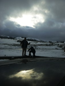 John and Daniel from car in Yellowstone