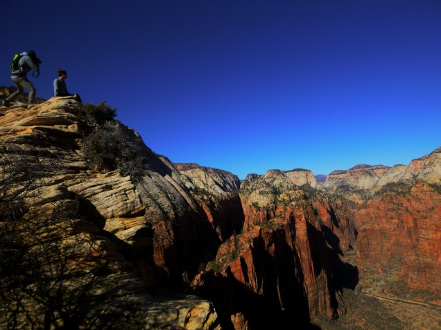 Taking Photos on Angels landing Zion