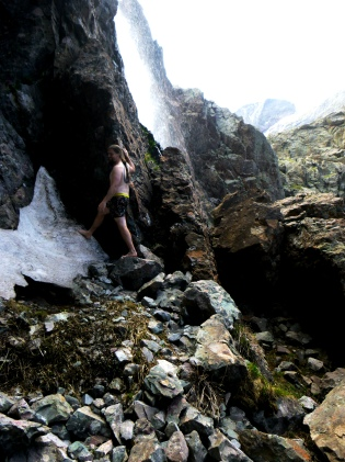 Wolfman at Waterfall with foot on ice